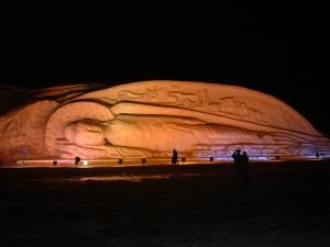 reclining buddha snow sculpture